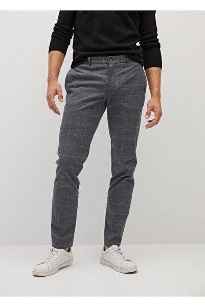 MANGO Man Dar Kesim Kareli Pamuklu Pantolon