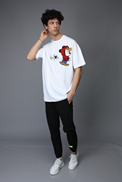 Erkek Beyaz Mickey Mouse Oversize Tshirt