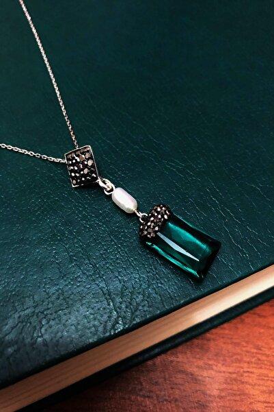 Dr. Stone Kadın Zümrüt Yeşili Hindistan Kristali Ve Inci Gümüş Kolye Xdrsott1