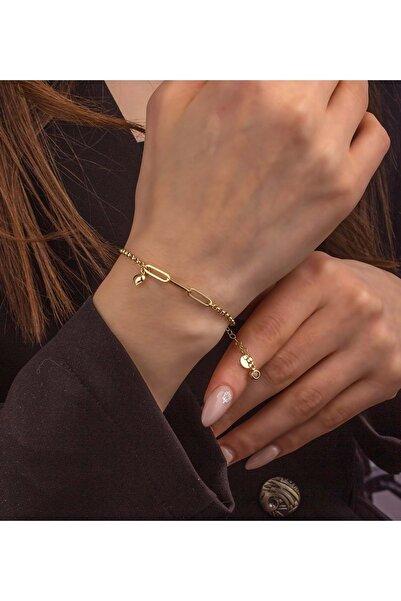 Else Gold Kadın  8 Ayar Altın Doc Zincir Kalpli Bileklik