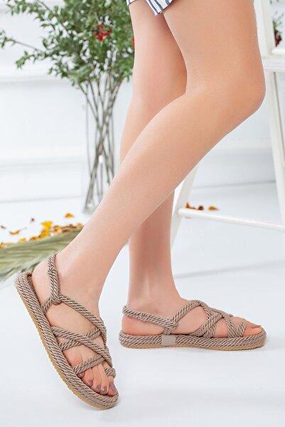meyra moda Kadın Halat Sandelet Vizon
