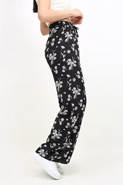DOĞAN ATEŞ Çok Renkli Çiçek Desenli Beli Lastikli Bol Salaş Pantolon