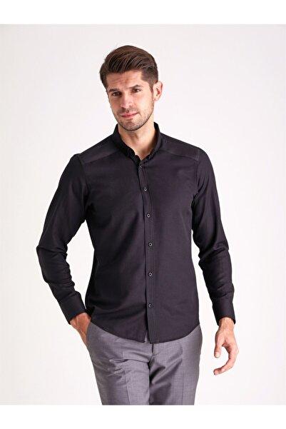 Dufy Siyah Pamuk Karışımlı Erkek Gömlek - Slım Fıt