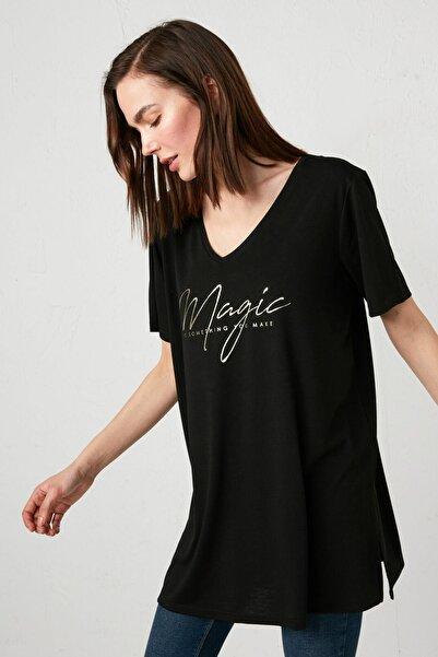 LC Waikiki Kadın Yeni Siyah Classic Tişört