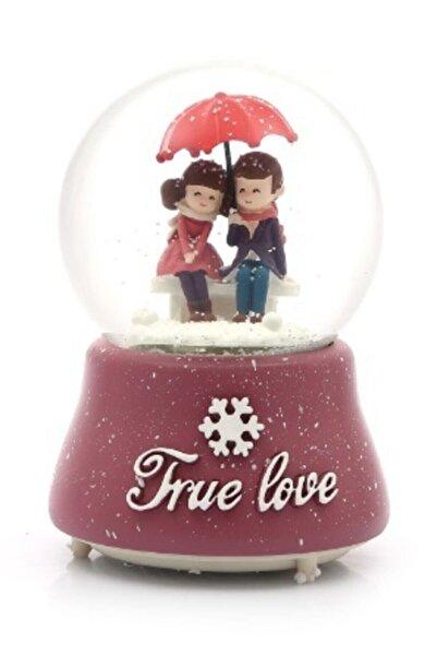 FBZhome Büyük Boy Işıklı Kar Küresi True Love Şemsiyeli Sevgililer Fuşya Müzikli Kar Püskürtmeli Cam Küre