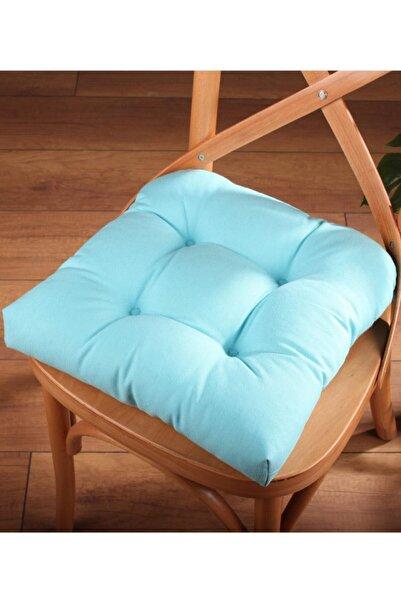 ALTINPAMUK Lüx Pofidik Turkuaz Sandalye Minderi Özel Dikişli Bağcıklı 40x40cm