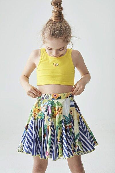 Tyess Kız Çocuk Sarı Crop T-Shirt