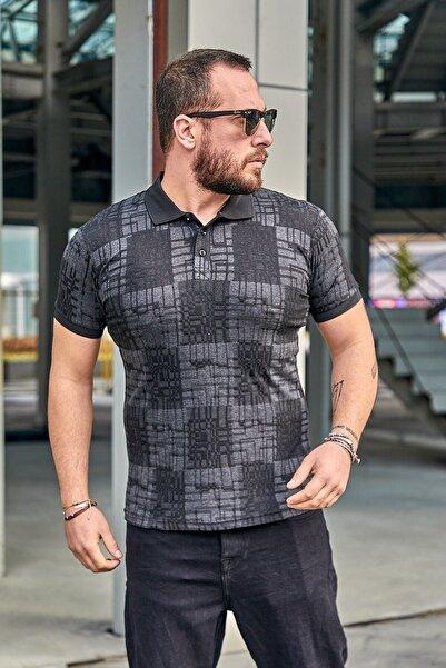 Karpefingo Erkek Siyah Kendinden Desenli  Polo Yaka T-shirt  46559