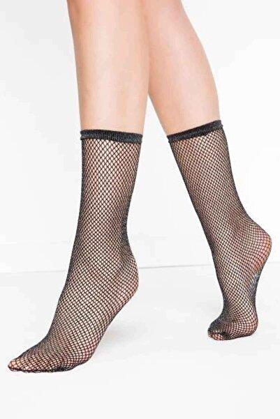 Penti Klasik File Desenli Socet Çorap Siyah