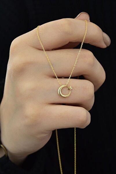 Papatya Silver Gümüş Altın Kaplama Ay Yıldız Kolye 925 Ayar