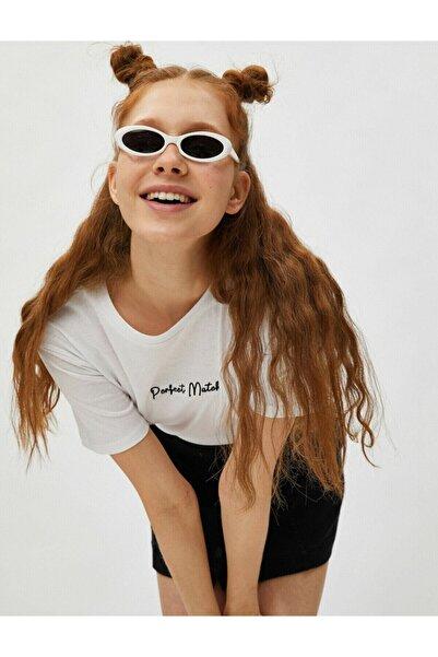 Koton Kadın Beyaz Kısa Kollu Slogan İşlemeli Bisiklet Yaka Pamuklu T-Shirt