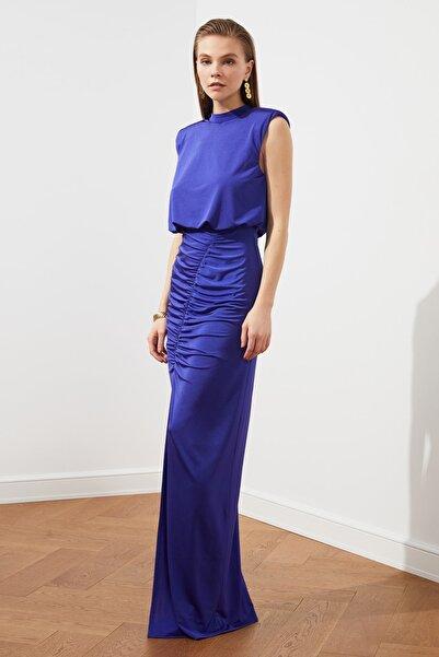 TRENDYOLMİLLA Mor Drape Detaylı  Abiye & Mezuniyet Elbisesi TPRSS20AE0190