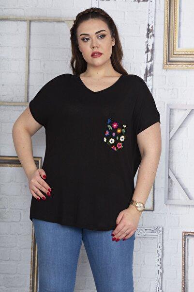 Şans Kadın Siyah Cebi Yazma Desen Tül Detaylı Düşük Kol Viskon Bluz 65N22702