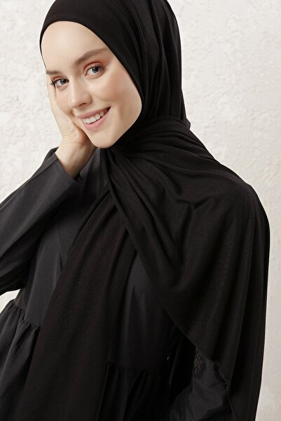 Tachnisa Kadın Siyah Penye Şal