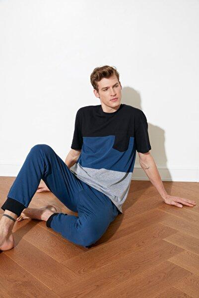 TRENDYOL MAN Lacivert Renk Bloklu Örme Pijama Takımı THMSS21PT0309
