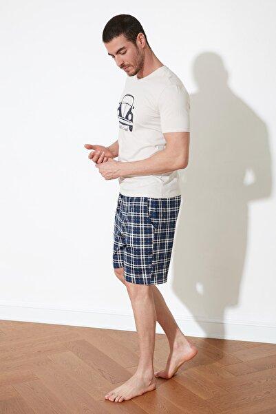 TRENDYOL MAN Bej Ekoseli Örme Pijama Takımı THMSS21PT0329