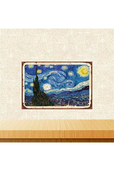 TAKIFİX Vincent Van Gogh Yıldızlı Gece 20-30 cm Retro Ahşap Tablo Tkfx5377