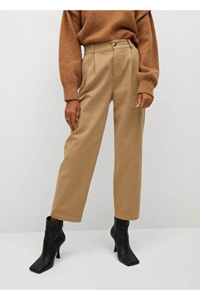 MANGO Woman Kadın Kum Bej Pantolon