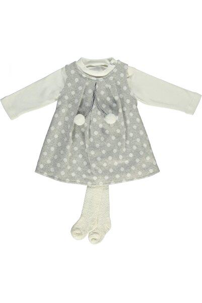 Bebetto Kız Bebek Gri Elbise 3'lü Takım