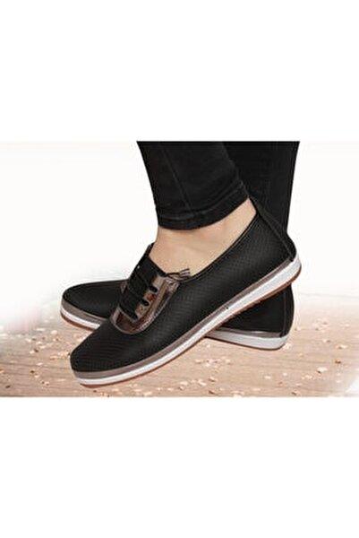Kadın Siyah Günlük Babet Ortapedik Ayakkabı