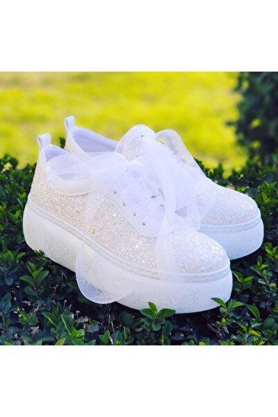 Ayakkabı Tutkusu Stilo ® 5cm Gelin Ayakkabısı Rahat Şık Opak Beyaz Parıltılı