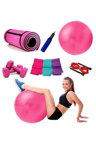BlackFit 6'lı Pilates Ve Yoga Seti Pembe, 10mm Pilates Minderi,55cm Top,pompa,ip,dambıl,plates Bandı