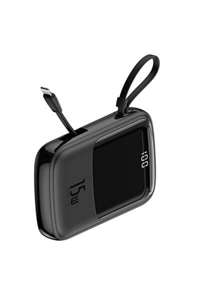 Baseus Q Pow 3a Dijital Gösterge 10000mah Power Bank + Iphone Uyumlu Şarj Başlık Siyah