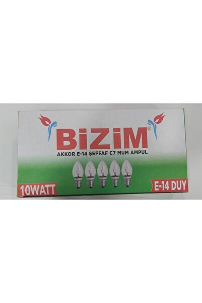 Bizim E14 Mum Ampul (abajur Lambası) 10 Watt - 5 Adet