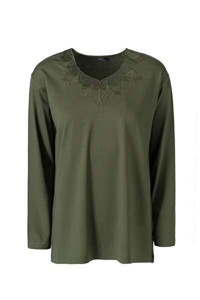 Trikolay Büyük Beden Desenli Anne Penye Bluz