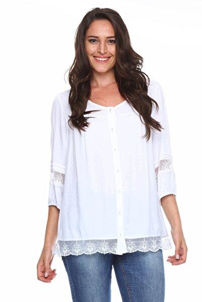Zer Otantik Dantel Detaylı Büyük Beden Gömlek Bluz Beyaz