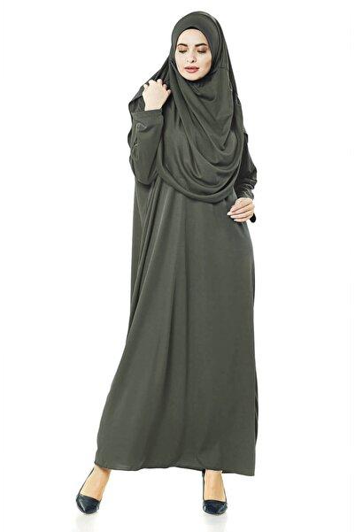 İhvan Haki Tek Parça Çantalı Namaz Elbisesi