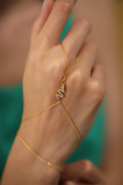 İzla Design Yılan Model Altın Kaplama Gümüş Şahmeran