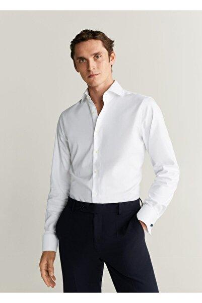 MANGO Man Erkek Beyaz Dar Kesim Tailored Pamuklu Gömlek