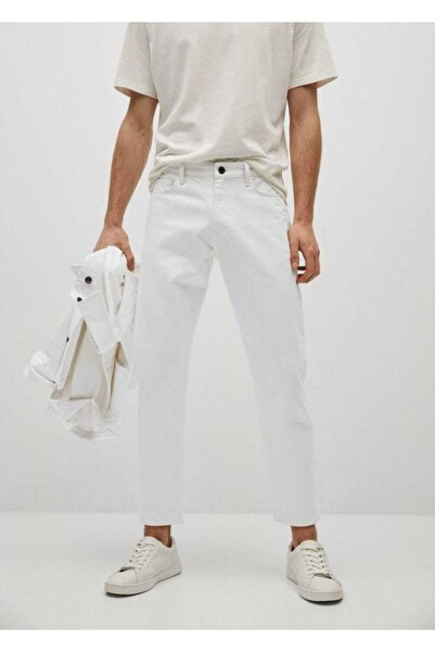 MANGO Man Beyaz Ben Tapered Kesim Jean Pantolon
