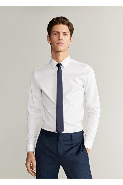 MANGO Man Erkek Beyaz Süper Dar Kesim Pamuklu Tailored Gömlek 67090505