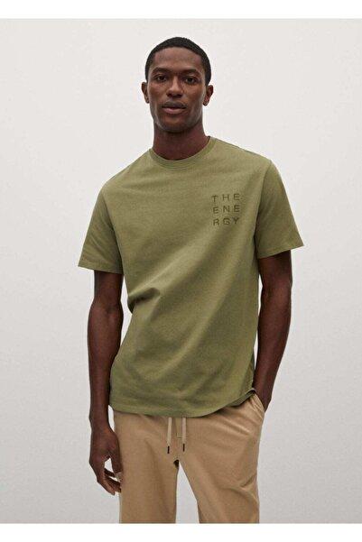 MANGO Man Yazı Işlemeli Pamuklu Tişört