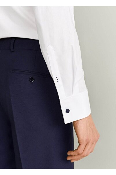 MANGO Man Erkek Beyaz Regular Kesim Pamuklu Tailored Gömlek 63130462