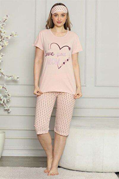 TrendBu Kadın %100 Pamuk Penye Kısa Kol Kapri Pijama Takım 3528