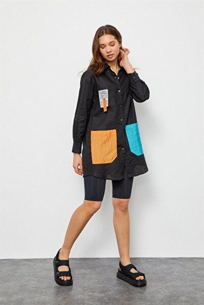 Setre Kadın Siyah Keten Çıtçıtlı Renkli Cepli Tunik