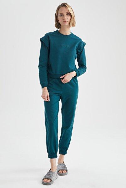 DeFacto Kadın Yeşil Sweatshirt Ve Jogger Eşofman Altı Takım
