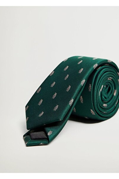 MANGO Man Erkek Yeşil Böcek Baskılı Kravat