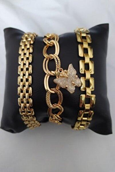 Altın Kaplama Kelebek Figürlü Kadın Kombin Bileklik
