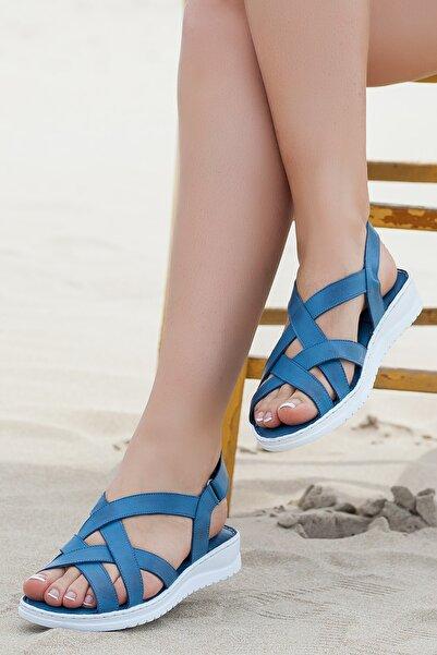 Deripabuc Hakiki Deri Kot Mavi Kadın Sandalet DP05-S012