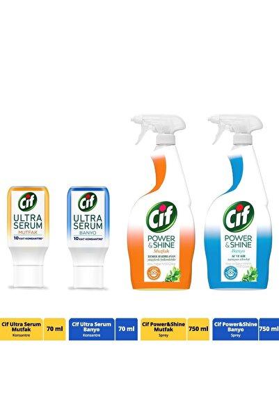 Cif Power & Shine Mutfak ve Banyo Sprey 750 mL x2 ve Ultra Serum Kapsül Mutfak ve Banyo 70 ml 2 Adet