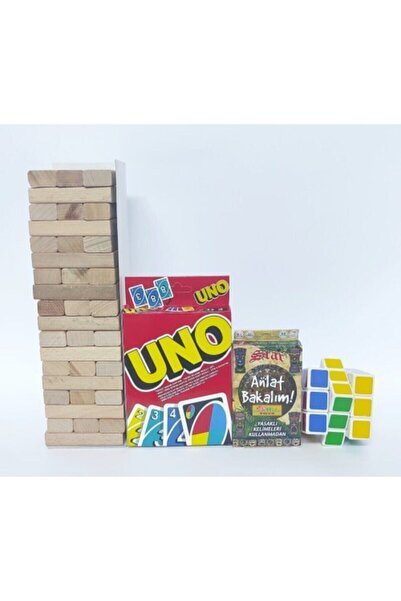 Brother Toys 54 Parça Denge Oyunu 108 Kartlı Uno 55 Kartlı Anlat Bakalım Kartları Rubik Zeka Küpü 4'lü Set