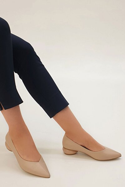 Marjin Evara Kadın Günlük Klasik Topuklu Ayakkabıbej