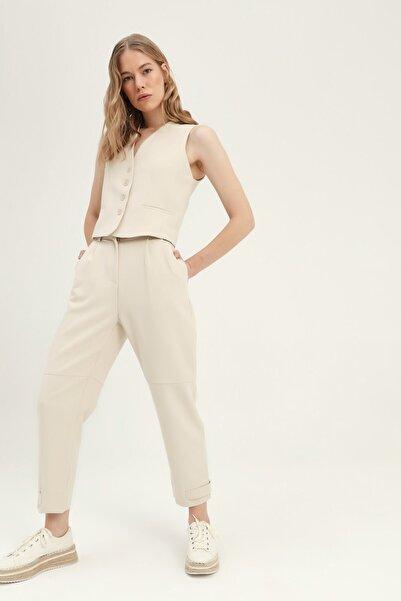 Quzu Kadın Taş Paçası Çıtçıtlı Pantolon