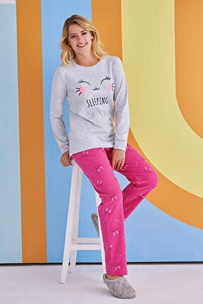 Kadın Gri Pembe Desenli Uzun Kollu Pijama Takımı  1378