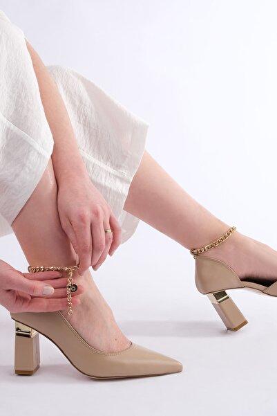 Marjin Bej Kadın VERNA Klasik Topuklu Ayakkabı 19Y0016AS618
