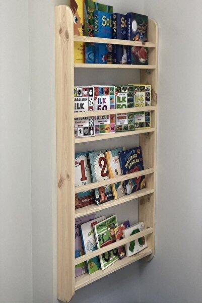 Doğal Life Montessori Çocuk Odası Kitaplığı Ahşap Ham Verniksiz Doğal Kitaplık 100*50*9